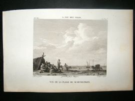 After A. Van Den Velde C1810 Antique Print. Vue de La Plage Schevelingen